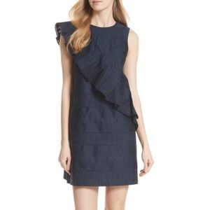 TED BAKER LONDON  Embroidered Ruffle Shift Dress